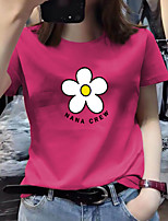 cheap -Women's Tee / T-shirt Pure Color Crew Neck Spandex Flower Sport Athleisure Top Short Sleeves Breathable Soft Comfortable Everyday Use Casual Daily Outdoor