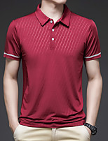 cheap -Men's T shirt Hiking Tee shirt Hiking Polo Shirt Short Sleeve Square Neck Tee Tshirt Top Outdoor Quick Dry Lightweight Breathable Sweat wicking Autumn / Fall Spring Summer POLY Solid Color Black Red