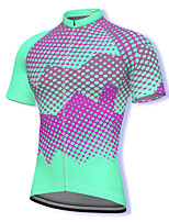 cheap -21Grams Men's Short Sleeve Cycling Jersey Spandex Green Polka Dot Bike Top Mountain Bike MTB Road Bike Cycling Breathable Quick Dry Sports Clothing Apparel / Athleisure