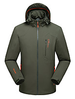 cheap -Men's Hiking Softshell Jacket Hiking Windbreaker Winter Summer Outdoor Solid Color Thermal Warm Windproof Quick Dry Lightweight Jacket Hoodie Top Hunting Fishing Climbing Black Army Green