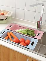 cheap -Telescopic Drain Rack Adjustable Plastic Tableware Rack Household Kitchen Dish Rack Vegetable Drain Basket