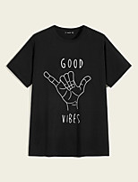 cheap -Men's Unisex T shirt Hot Stamping Hand Plus Size Print Short Sleeve Casual Tops 100% Cotton Basic Casual Fashion Black