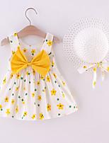 cheap -Toddler Little Girls' Dress Floral Print Yellow Blushing Pink Orange Knee-length Sleeveless Regular Dresses Summer Loose 2-4 Years