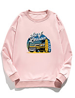 cheap -Women's Pullover Sweatshirt Cartoon Print Daily Other Prints Basic Hoodies Sweatshirts  White Blue Blushing Pink