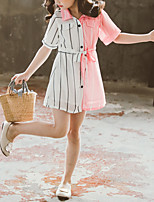 cheap -Kids Little Girls' Dress Striped Patchwork Holiday Patchwork Blue Blushing Pink Above Knee Short Sleeve Casual Dresses Summer Regular Fit 3-13 Years