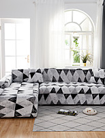 cheap -Grey Triangle Print Dustproof All-powerful Slipcovers Stretch L Shape Sofa Cover Super Soft Fabric Couch Cover with One Free Pillow Case