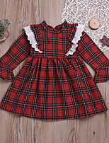 cheap -Kids Little Girls' Dress Plaid Print Red Long Sleeve Active Dresses Summer Regular Fit 2-6 Years