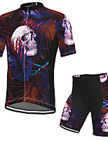 cheap -Men's Short Sleeve Cycling Jersey with Shorts Spandex Black Skull Bike Breathable Quick Dry Sports Graphic Mountain Bike MTB Road Bike Cycling Clothing Apparel / Stretchy / Athletic / Athleisure