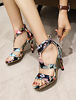 cheap -Women's Sandals Stiletto Heel Open Toe Microfiber Floral White Black Yellow