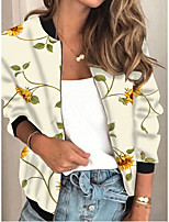 cheap -Women's Plants Print Active Spring &  Fall Jacket Regular Daily Long Sleeve Air Layer Fabric Coat Tops White