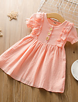 cheap -Kids Little Girls' Dress Solid Colored Ruffle Blushing Pink Green Beige Short Sleeve Active Dresses Summer Regular Fit 2-6 Years