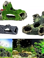 cheap -Simulation Resin Artificial Dead Wood Hole Hiding Cave Habitat Aquarium Fish Tank Ornament DIY Home Decor Pet House