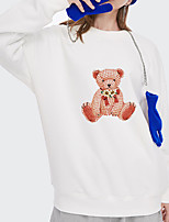 cheap -Women's Pullover Sweatshirt Panda Print Daily Other Prints Basic Hoodies Sweatshirts  White Blue Blushing Pink