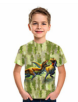 cheap -Kids Boys' T shirt Short Sleeve Dinosaur Animal Daily Wear Print Children Summer Tops Active Regular Fit Green 4-12 Years