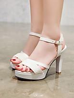 cheap -Women's Wedding Shoes Pumps Open Toe Wedding Sandals PU Synthetics Buckle Sequin Color Block White Black Blue