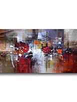 cheap -Stretched Oil Painting Hand Painted Canvas Abstract Comtemporary Modern High Quality Dark Red Ready to Hang