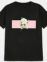 cheap -Men's Unisex T shirt Hot Stamping Floral Graphic Prints Plus Size Print Short Sleeve Daily Tops 100% Cotton Basic Fashion Classic Black