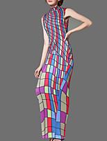 cheap -Women's Shift Dress Maxi long Dress Multicolor_1 Sleeveless Print Print Spring Summer Turtleneck Formal 2021 S M L XL