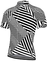 cheap -21Grams Men's Short Sleeve Cycling Jersey Spandex Black+White Stripes Bike Top Mountain Bike MTB Road Bike Cycling Breathable Quick Dry Sports Clothing Apparel / Athleisure