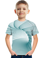 cheap -Kids Boys' Tee Short Sleeve Graphic 3D Children Tops Active Light Blue