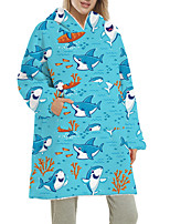 cheap -Women's Home Polyester Hooded Suits Long Sleeve Print Fall & Winter Animal One-Size Blue