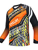 cheap -21Grams Men's Long Sleeve Downhill Jersey Spandex Orange Bike Jersey Top Mountain Bike MTB Road Bike Cycling UV Resistant Quick Dry Sports Clothing Apparel / Athletic