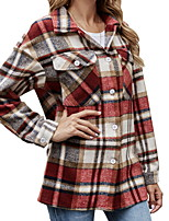 cheap -Women's Print Patchwork Fall & Winter Jacket Regular Daily Long Sleeve Polyster Coat Tops Red