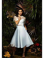 cheap -Two Piece Minimalist Elegant Homecoming Cocktail Party Dress High Neck Short Sleeve Tea Length Stretch Satin with Pleats 2021