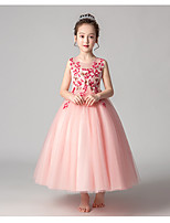 cheap -Princess / Ball Gown Jewel Neck Ankle Length Tulle Junior Bridesmaid Dress with Pleats / Appliques