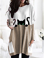 cheap -Women's T shirt Cartoon Cat Graphic Long Sleeve Pocket Round Neck Tops Basic Basic Top Black Orange Khaki