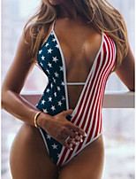 cheap -Women's One Piece Monokini Swimsuit Open Back Slim Flag Red Swimwear Padded Bodysuit V Wire Bathing Suits New Fashion Sexy