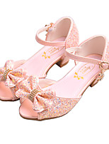 cheap -Girls' Sandals Flower Girl Shoes Princess Shoes School Shoes Rubber PU Little Kids(4-7ys) Big Kids(7years +) Daily Party & Evening Walking Shoes Rhinestone Sparkling Glitter Buckle White Pink Fall