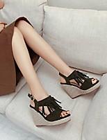cheap -Women's Sandals Wedge Heel Round Toe PU Synthetics Black Yellow Army Green