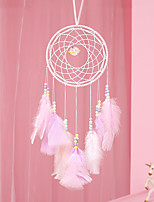 cheap -Pink Dream Catcher Handmade Circle Design Dream Catcher Feather Hanging Home Decoration Ornament Festival Gift