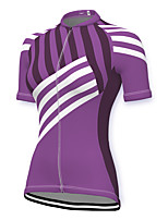 cheap -21Grams Women's Short Sleeve Cycling Jersey Spandex Purple Stripes Bike Top Mountain Bike MTB Road Bike Cycling Breathable Sports Clothing Apparel / Stretchy / Athleisure