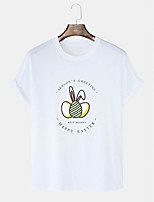 cheap -Men's T shirt Hot Stamping Graphic Prints Rabbit / Bunny Egg Print Short Sleeve Daily Tops 100% Cotton Basic Casual White Black Blushing Pink