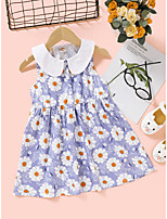 cheap -Kids Toddler Little Girls' Dress Floral Print Blue Knee-length Sleeveless Flower Active Dresses Summer Regular Fit 2-8 Years