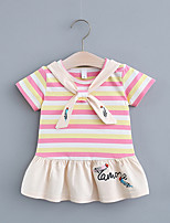 cheap -Toddler Little Girls' Dress Striped Print Purple Yellow Blushing Pink Knee-length Short Sleeve Regular Dresses Summer Loose 2-4 Years