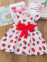 cheap -Kids Toddler Little Girls' Dress Fruit Bow White Red Yellow Above Knee Short Sleeve Cute Dresses Spring & Summer 2-6 Years
