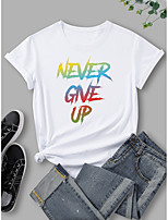 cheap -Women's T shirt Graphic Print Round Neck Tops 100% Cotton Basic Basic Top White Black Blue