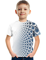 cheap -Kids Boys' Tee Short Sleeve Graphic Children Tops Active Blue 3-12 Years