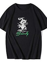 cheap -Men's Unisex Tees T shirt Hot Stamping Dragon Graphic Prints Plus Size Print Short Sleeve Casual Tops 100% Cotton Basic Designer Big and Tall Black