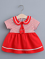cheap -Toddler Little Girls' Dress Striped Print Black Red Blushing Pink Knee-length Short Sleeve Regular Dresses Summer Loose 2-4 Years