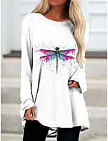 cheap -Women's T Shirt Dress Tee Dress Short Mini Dress White Light Blue Long Sleeve Color Block Animal Print Fall Spring Round Neck Casual 2021 S M L XL XXL 3XL