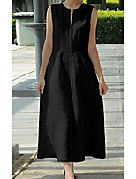 cheap -Women's A Line Dress Maxi long Dress White Black Sleeveless Solid Color Patchwork Print Spring Summer Round Neck Casual 2021 S M L XL XXL