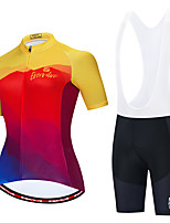 cheap -Women's Short Sleeve Cycling Jersey with Shorts Red / Yellow Rainbow Bike Breathable Sports Rainbow Clothing Apparel / Micro-elastic / Athleisure