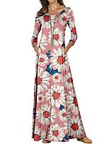 cheap -Women's Sheath Dress Maxi long Dress Blue Blushing Pink Long Sleeve Floral Color Block Print Fall Spring Round Neck Casual 2021 S M L XL XXL 3XL