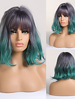 cheap -Short Cosplay Wigs for Women Ash Gray Green Wavy Ombre Wig with Bangs Natural Synthetic Hair Wigs Cute Lolita Wigs