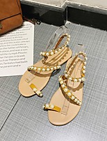 cheap -Women's Sandals Boho Bohemia Beach Flat Heel Round Toe Flat Sandals Casual Daily Walking Shoes Microfiber Pearl Solid Colored Golden