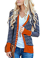 cheap -Women's Striped Patchwork Active Spring &  Fall Jacket Regular Daily Long Sleeve Polyster Coat Tops Light Blue